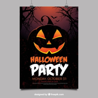 Halloween party poster with creepy pumpkin