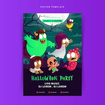 Halloween party poster with the cute indonesian ghost cartoon
