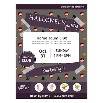 Halloween party poster with devil costume pattern