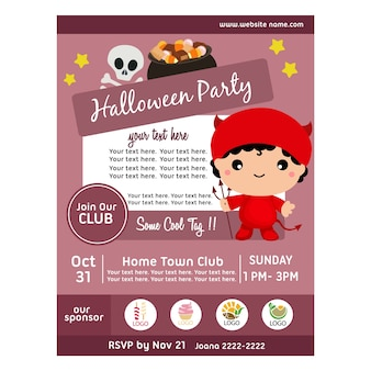 Halloween party poster with devil costumes
