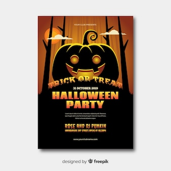 Halloween party poster with flat design