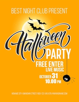 Halloween party poster with flying bats and yellow moon