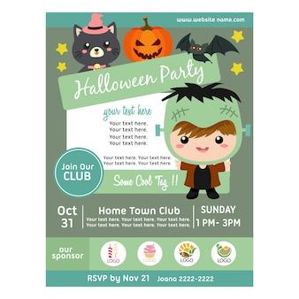 Halloween party poster with frankenstein costume kids