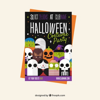 Halloween party poster with funny costumes