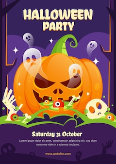 Halloween party poster with ghosts