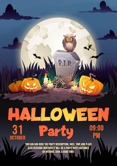 Halloween party poster with gravestone tomb, old owl and scary pumpkins in cemetery with full moon