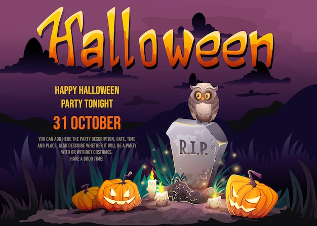 Halloween party poster with gravestone tomb old owl and scary pumpkins in cemetery with full moon