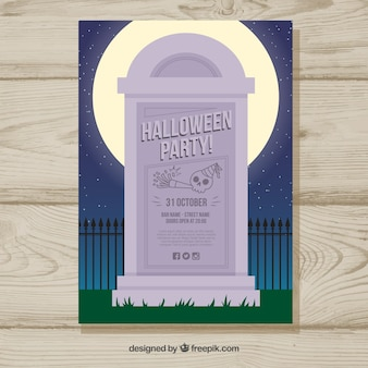 Halloween party poster with gravestone