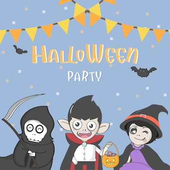 Halloween party poster with group of cute halloween costume. vector and illustration