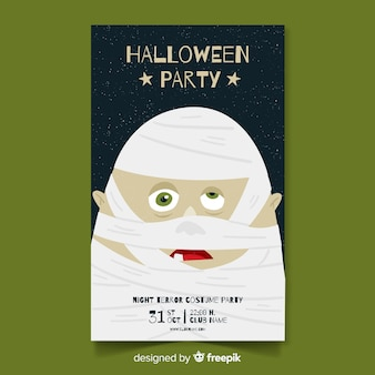 Halloween party poster with hand drawn mummy