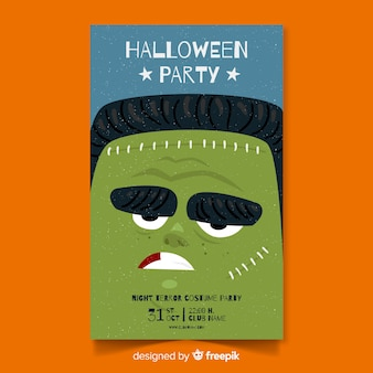 Halloween party poster with hand drawn zombie