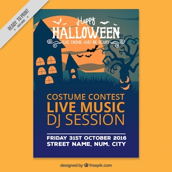 Halloween party poster with haunted house and tree