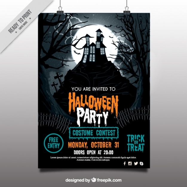photo regarding Free Printable Halloween Party Flyers named Halloween Flyer Vectors, Illustrations or photos and PSD data files Absolutely free Down load