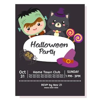 Halloween party poster with kid frankenstein costume