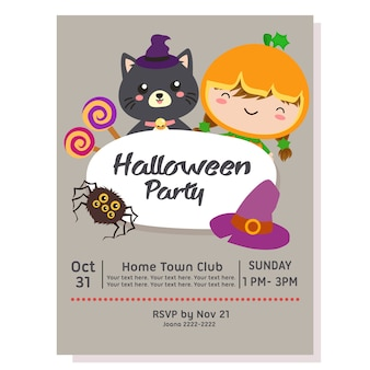 Halloween party poster with kid pumpkin costume