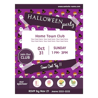 Halloween party poster with kids character pattern