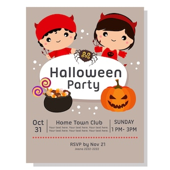 Halloween party poster with kids devil costume