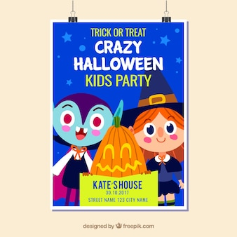 Halloween party poster with kids and pumpkins