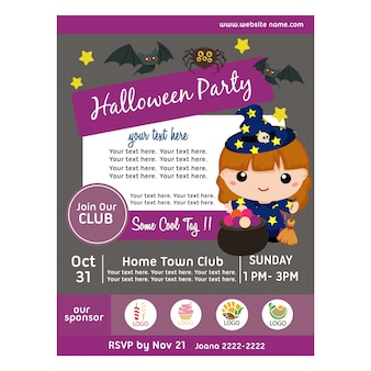 Halloween party poster with lovable kids character