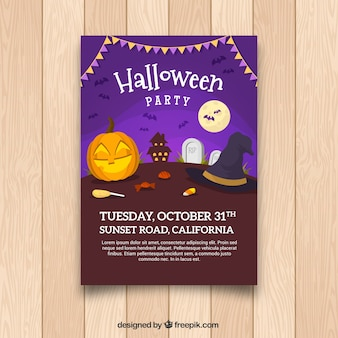 Halloween party poster with lovely style