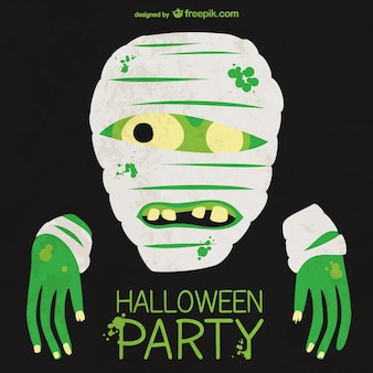 Halloween party poster with mummy Free Vector
