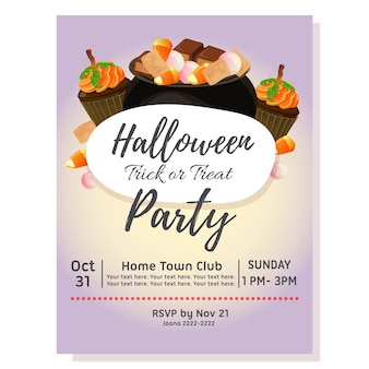 Halloween party poster with pot of candy