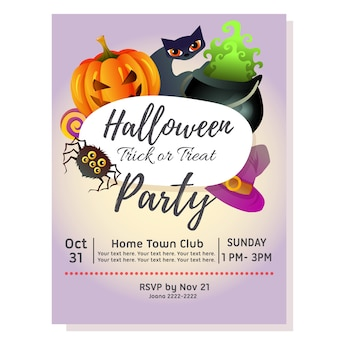 Halloween party poster with pot of magic