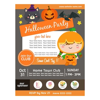 Halloween party poster with pumpkin costume kids