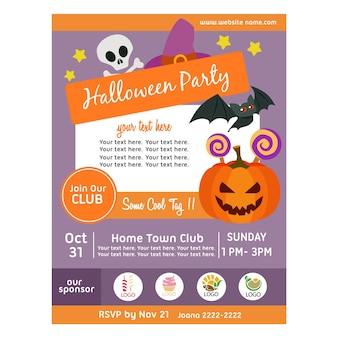 Halloween party poster with pumpkin flat style