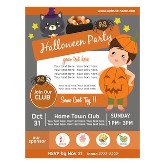 Halloween party poster with pumpkin kids