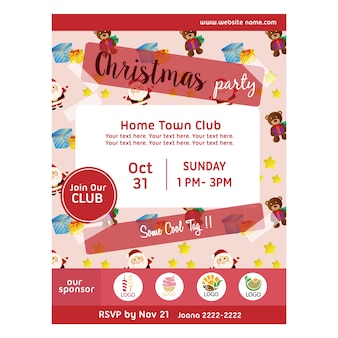 Halloween party poster with santa claus pattern