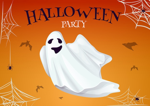 Halloween party poster with scary ghost spooky character. night horror invitation card.