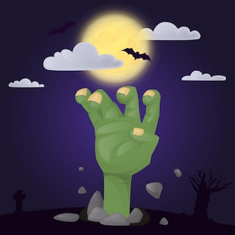 Halloween party poster with scary zombie hand spooky character. night horror