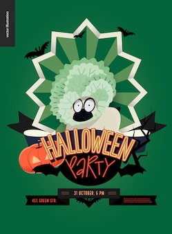 Halloween party poster with sheep