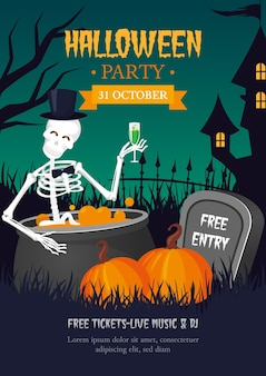 Halloween party poster with skeleton