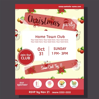 Halloween party poster with snowman pattern