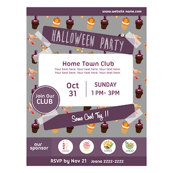 Halloween party poster with treats pattern
