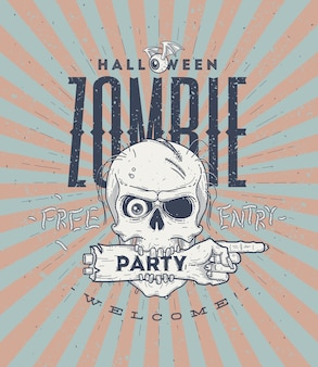 Halloween party poster with zombie head and hand - line art illustration