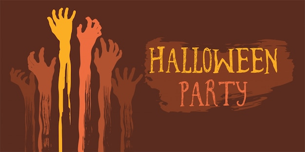 Halloween party poster with zombie s hand