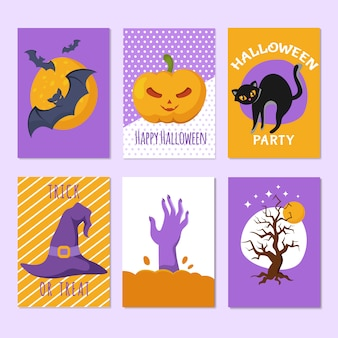 Halloween party posters and invitation cards with cartoon scary signs and characters