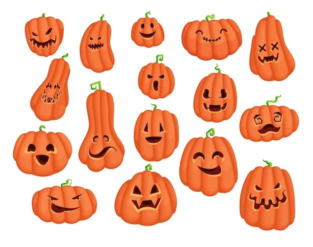 Набор наклеек персонажа из мультфильма тыквы хэллоуина. коллекция дизайна scary jack o lantern со злыми глазами и улыбающимся лицом. жуткая графика для традиционных праздничных открыток и полиграфического дизайна.