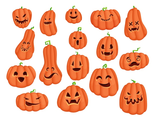 Halloween party pumpkin cartoon character sticker set. scary jack o lantern  design collection with evil eyes and smile face. creepy graphics for tradirional holiday card and print design.