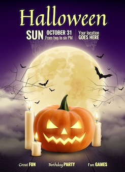 Halloween party realistic poster