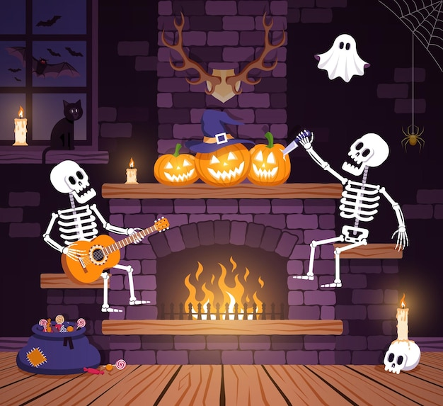 Комната для вечеринки на хэллоуин с тыквами и скелетами гостиная с камином во время хэллоуина Premium векторы