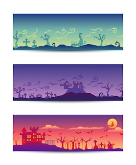 Halloween party roughen gradient banner set