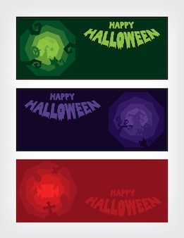 Halloween party roughen octagon silhouette banner