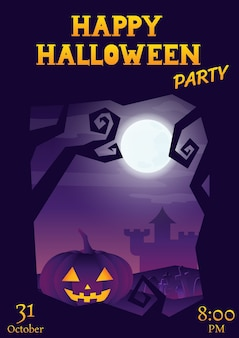 Halloween party roughen purple gradient greeting