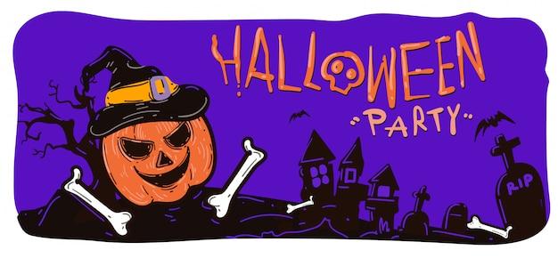 Halloween party and sales banner illustration