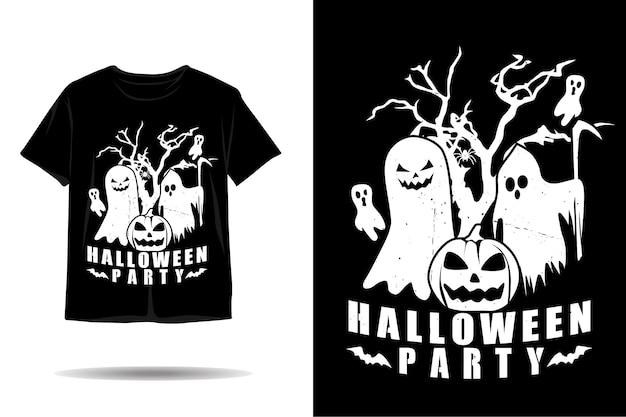 ハロウィンパーティーシルエットtシャツデザイン