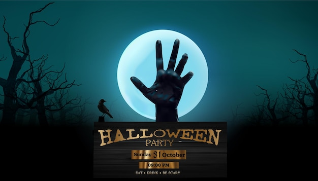 Halloween party, silhouettes dark hand on the full moon  poster design